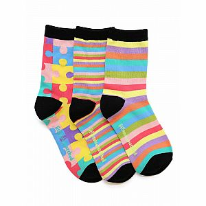 Zany Puzzles Kid Ankle Socks - 3 Single Socks