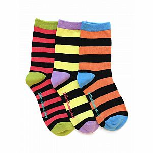 Kooky Stripes Adult Ankle Socks - 3 Single Socks